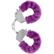 Kovová pouta na ruce s plyšovým kožíškem - fialová