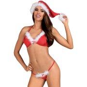 Vánoční kostým Santastic (podprsenka, tanga a čepice) - Obsessive
