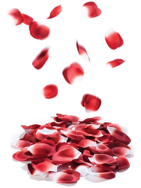 Umělé okvětní lístky rudých růží