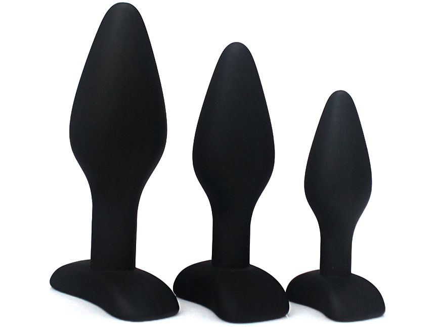 Silikonové anální kolíky - černé (sada 3 ks)