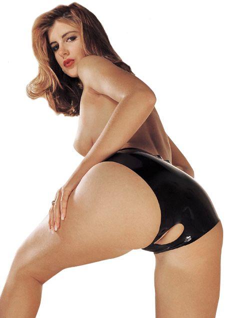 Dámské latexové kalhotky s otvorem