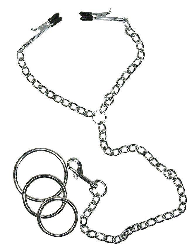 You2ToysSkřipce na bradavky s řetízkem + 3 erekční kroužky